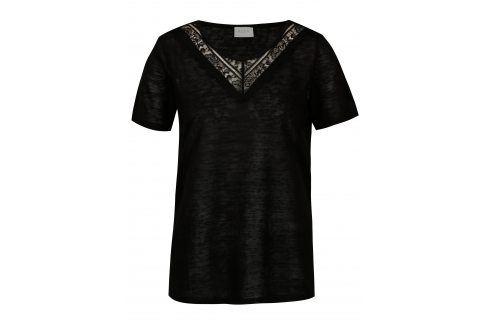 Černé průsvitné tričko VILA Sumi trička s krátkým rukávem