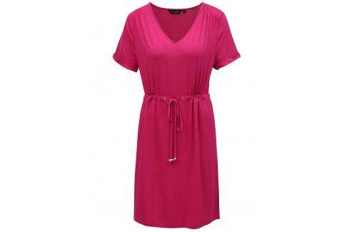 Tmavě růžové šaty se stahováním v pase Dorothy Perkins šaty na denní nošení
