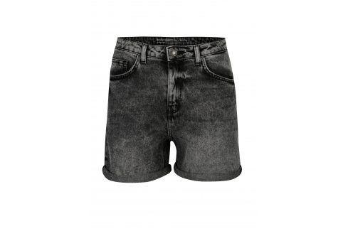 Černé džínové kraťasy s vysokým pasem Noisy May Be liv Kalhoty, kraťasy