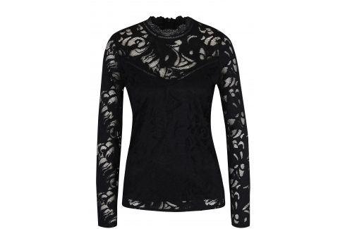 Černý krajkový top s dlouhým rukávem VILA Stasia halenky