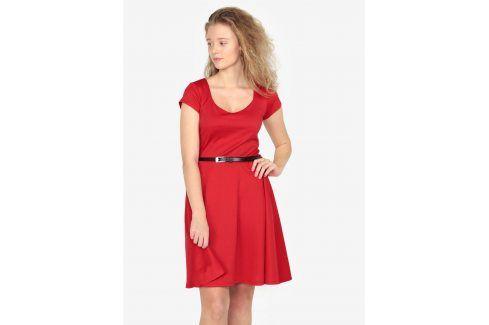 Červené šaty s páskem ZOOT šaty na denní nošení