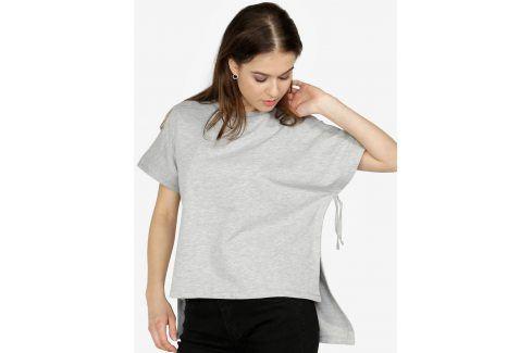 Šedé volné žíhané tričko Noisy May Sara trička s krátkým rukávem