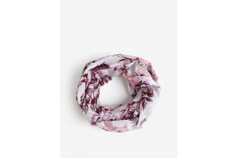 Růžovo-krémový květovaný dutý šátek Pieces Gista šátky, šály