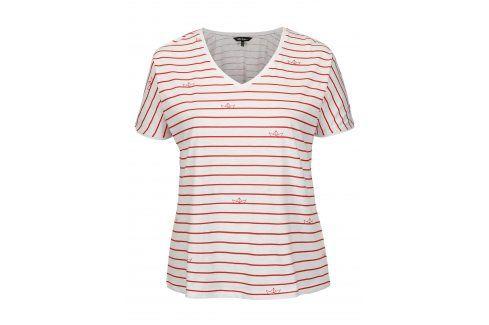 Červeno-bílé pruhované tričko Ulla Popken Móda pro plnoštíhlé