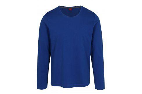 Modré pánské tričko s.Oliver trika s dlouhým rukávem