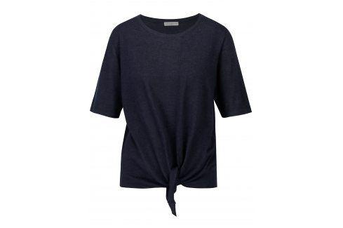 Tmavě modrý top s uzlem Jacqueline de Yong Carmen trička s krátkým rukávem