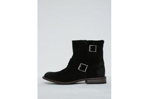 Černé semišové kotníkové boty s přezkami Pieces Petti Boty