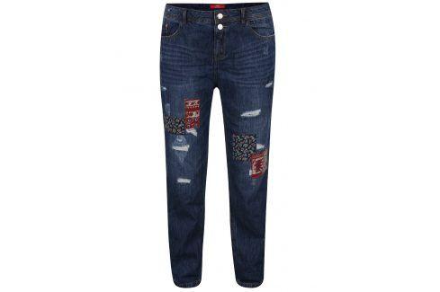 Tmavě modré dámské boyfriend džíny s nášivkami s.Oliver Džíny, kalhoty, legíny