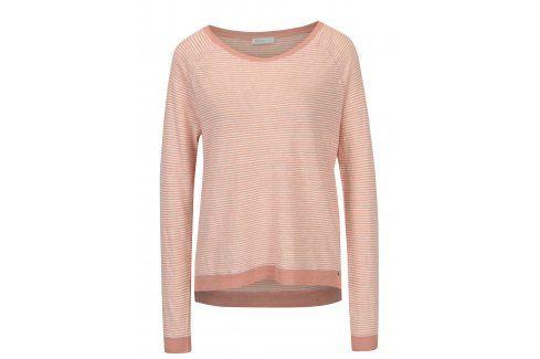 Krémovo-růžové lněné tričko s dlouhým rukávem Yesre trička s dlouhým rukávem