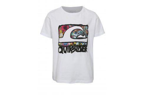 Bílé klučičí regular fit tričko s barevným potiskem Quiksilver trička s krátkým rukávem
