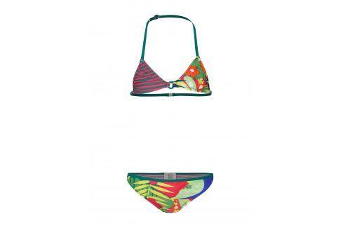Růžovo-zelené dvoudílné holčičí plavky s potiskem BÓBOLI Plavky