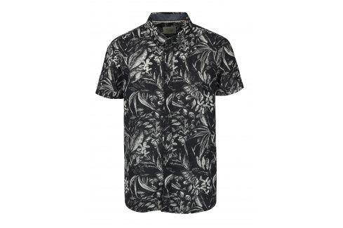 Krémovo-černá vzorovaná slim fit košile s krátkým rukávem Blend neformální