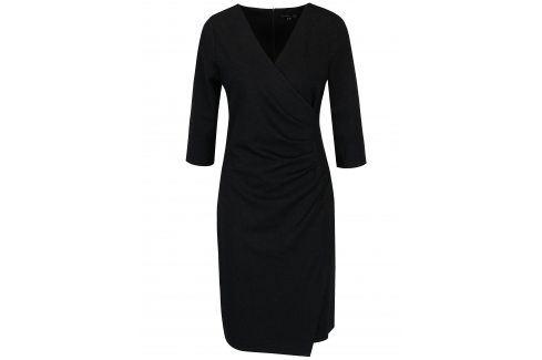 Tmavě šedé šaty s překládaným výstřihem a řasením na boku Smashed Lemon šaty na denní nošení