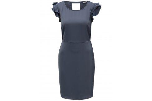 Tmavě šedé šaty s volány a průstřihem na zádech VILA Occasion šaty na denní nošení