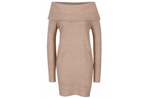 Béžové svetrové šaty s odhalenými rameny Dorothy Perkins šaty na denní nošení