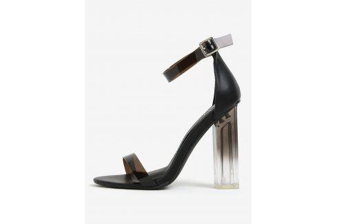 Černé sandálky na vysokém transparetním podpatku MISSGUIDED sandály
