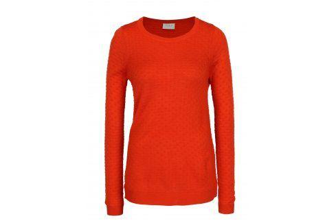 Červený lehký svetr s jemným vzorem VILA Sarafina Móda pro ženy