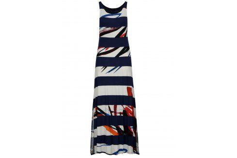 Bílo-modré pruhované maxišaty Desigual Felipe letní a plážové šaty