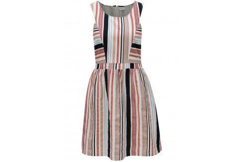 Krémové pruhované šaty  VILA Linis šaty na denní nošení