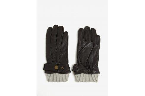 Tmavě hnědé kožené rukavice Jack & Jones Vintage Victor čepice, šály, rukavice
