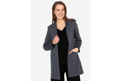 Tmavě modré dlouhé sako s kapsami VERO MODA Jenny Bundy, kabáty