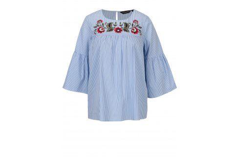 Modro-bílá pruhovaná halenka s výšivkami květů Dorothy Perkins halenky
