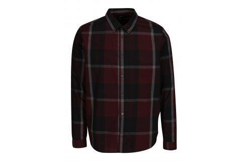 Vínová kostkovaná košile Burton Menswear London neformální