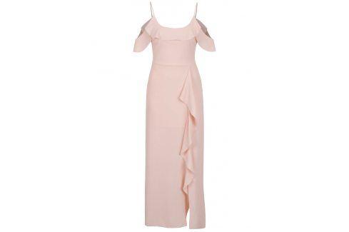 Světle růžové maxišaty s rozparkem Miss Selfridge Petites šaty na denní nošení