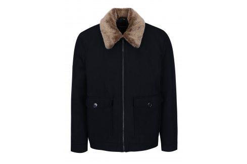 Tmavě modrá krátká vlněná bunda s límcem z umělé kožešiny Burton Menswear London bundy