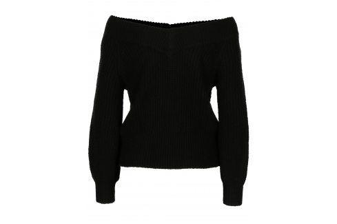 Černý svetr s odhalenými rameny s příměsí vlny Miss Selfridge Móda pro ženy