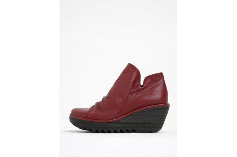 Vínové dámské kožené kotníkové boty na platformě FLY London Boty