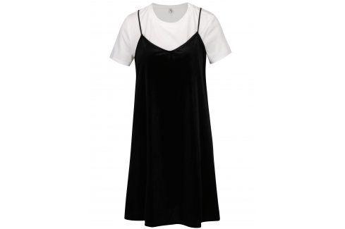 Černé sametové šaty s všitým tričkem ONLY Tara šaty na denní nošení