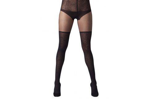 Černé punčochové kalhoty s vysokým pasem s krajkou Gipsy punčochy a punčocháče