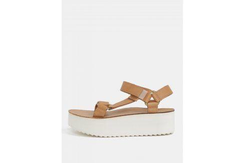Světle hnědé dámské kožené sandály na platformě Teva sandály