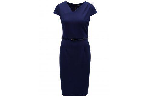 Tmavě modré šaty s asymetrickým výstřihem Dorothy Perkins společenské šaty