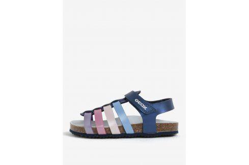 Tmavě modré holčičí kožené sandály Geox Boty