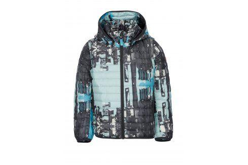 Modro-šedá klučičí prošívaná péřová bunda s odnímatelnými rukávy Reima Fleet Bundy, kabáty, saka