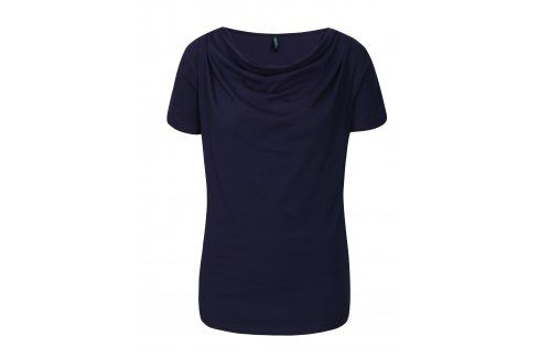 Tmavě modré tričko s řasením v dekoltu Tranquillo Vitisa trička s krátkým rukávem