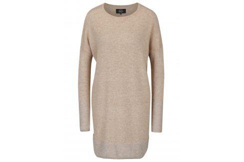 Béžové svetrové šaty s třpytivými detaily ONLY Lily šaty na denní nošení