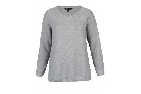Šedý svetr s véčkovým výstřihem Ulla Popken Móda pro ženy