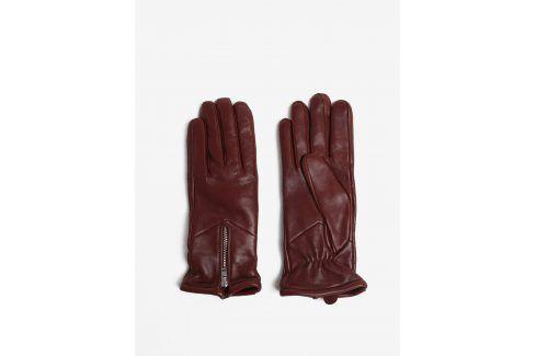 Hnědé dámské kožené rukavice se zipem a kašmírovou podšívkou Royal RepubliQ rukavice