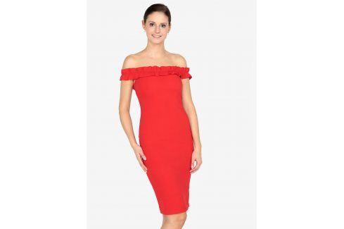 Červené pouzdrové šaty s odhalenými rameny AX Paris společenské šaty