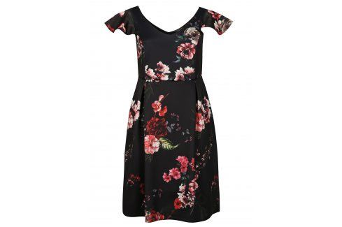 Černé květované šaty s volány Dorothy Perkins Curve Móda pro plnoštíhlé