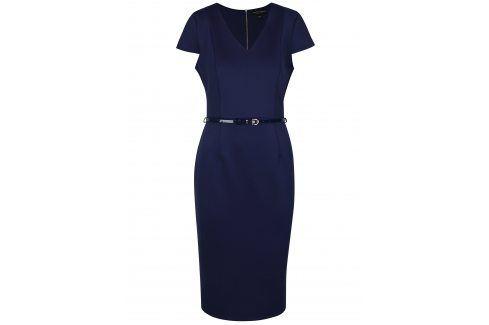 Tmavě modré pouzdrové šaty s páskem Dorothy Perkins šaty na denní nošení