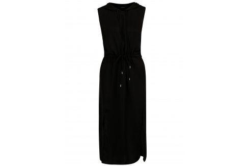 Černé dlouhé šaty s kapucí šaty na denní nošení