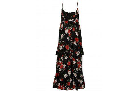 Černé květované maxišaty s volány SH Refente letní a plážové šaty
