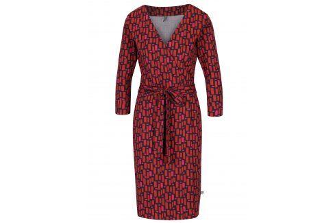 Cihlové vzorované zavinovací šaty se zavazováním Tranquillo Katia šaty na denní nošení