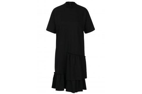 Černé asymetrické šaty s volány Noisy May Haus šaty na denní nošení