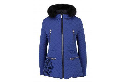 Modrý prošívaný kabát s kožíškem Desigual Fran Móda pro ženy