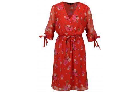 Červené květované šaty s 3/4 rukávem VERO MODA Lili mini šaty na denní nošení